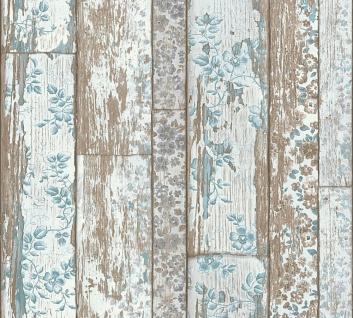 Holz Tapete Profhome 361191-GU Vliestapete glatt in Holzoptik matt blau braun 5, 33 m2