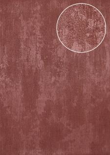 Uni Tapete Atlas TEM-5112-6 Vliestapete strukturiert in Spachteloptik schimmernd rot bordeaux-violett purpur-rot 7, 035 m2