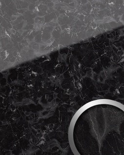Wandpaneel Marmor Optik WallFace 19341 MARBLE BLACK Wandverkleidung glatt in Naturstein Optik glänzend selbstklebend abriebfest schwarz grau 2, 6 m2