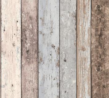 Holz Tapete Profhome 855039-GU Vliestapete glatt in Holzoptik matt braun blau 5, 33 m2