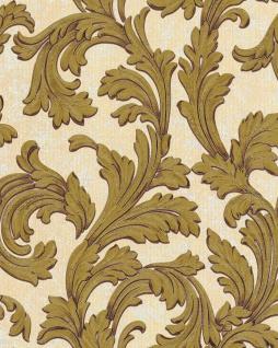 Barock Tapete EDEM 1032-11 Vinyltapete glatt mit Ornamenten und Metallic Effekt elfenbein weiß gold 5, 33 m2