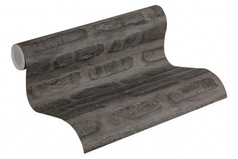 Stein Kacheln Tapete Profhome 374223-GU Vliestapete glatt in Steinoptik matt grau schwarz 5, 33 m2 - Vorschau 2
