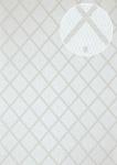 Grafik Tapete Atlas PRI-065-1 Vliestapete glatt mit Rauten Muster schimmernd grau weiß-aluminium seiden-grau silber-grau 5, 33 m2