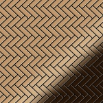 Mosaik Fliese massiv Metall Titan hochglänzend in kupfer 1, 6mm stark ALLOY Herringbone-Ti-AM 0, 85 m2