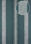Streifen Tapete Atlas 24C-5059-3 Vliestapete glatt mit grafischem Muster und metallischen Akzenten blau granit-grau blau-grau silber 7, 035 m2