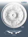 Stuckrosette Stuck Orac Decor R23 LUXXUS Rosette Zier Profil Classic Element floral Dekor weiß | 71, 5 cm Durchmesser