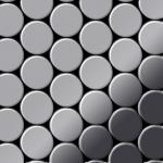 Mosaik Fliese massiv Metall Edelstahl hochglänzend in grau 1, 6mm stark ALLOY Dome-S-S-M 0, 73 m2