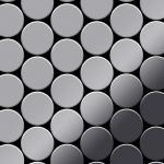 Mosaik Fliese massiv Metall Edelstahl hochglänzend in grau 1, 6mm stark ALLOY Medallion-S-S-M 0, 73 m2