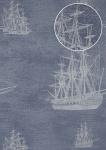 Grafik Tapete Atlas SIG-485-3 Vliestapete glatt im maritimen Design und metallischen Akzenten blau tauben-blau silber-grau 7, 035 m2