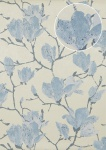 Blumen Tapete Atlas TEM-0115-3 HochwertigeVliestapete strukturiert mit grafischem Muster schimmernd creme brillant-blau tauben-blau kiesel-grau 7, 035 m2