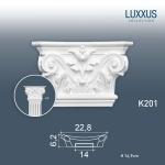 Pilaster Stuck Orac Dekor K201 LUXXUS Kapitell Stuck Dekor Element Stuck Akanthusblatt stabil Hartschaum Material weiß