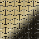 Mosaik Fliese massiv Metall Titan hochglänzend in gold 1, 6mm stark ALLOY Kismet-Ti-GM Designed by Karim Rashid 0, 86 m2