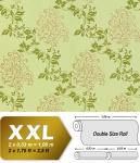 Blumen Tapete Vliestapete EDEM 946-28 Luxus Tapete Blätter-Muster Klassisches Barock-Blumendekor gelb grün gold 10, 65 qm