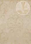Barock Tapete Atlas ATT-5082-1 Luxus Vliestapete geprägt mit floralen Ornamenten glänzend creme elfenbein beige 7, 035 m2