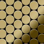 Mosaik Fliese massiv Metall Titan hochglänzend in gold 1, 6mm stark ALLOY Medallion-Ti-GM 0, 73 m2