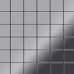 Mosaik Fliese massiv Metall Edelstahl hochglänzend in grau 1, 6mm stark ALLOY Cinquanta-S-S-M 0, 94 m2