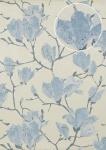 Blumen Tapete Atlas TEM-5110-3 HochwertigeVliestapete strukturiert mit grafischem Muster schimmernd creme brillant-blau tauben-blau kiesel-grau 7, 035 m2