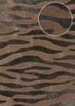 Tiermotiv Tapete Atlas SKI-9605-3 Vliestapete geprägt mit Zebramuster schimmernd braun blass-braun beige-braun dunkel-braun 7, 035 m2