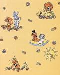 Kindertapete EDEM 007-21 Kinder-Zimmer Tapete Vinyl mit Motiven Löwe Hase Biene Sonne soft-gelb melonen-gelb