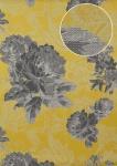 Blumen Tapete Atlas TEM-5109-7 Vliestapete strukturiert mit Paisley Muster schimmernd gelb dunkel-grau grau-weiß platin 7, 035 m2