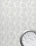 Wandpaneel Leder Blumen Dekor WallFace 14791 FLORAL ALISE Design Paneel selbstklebend weiß silber | 2, 60 qm
