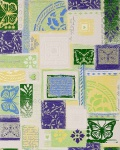 Grafik Tapete EDEM 071-25 Scrapbooking Schmetterlinge Funky Design Strukturmuster Weiß grün lila silber