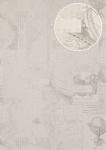 Grafik Tapete Atlas SIG-685-1 Vliestapete glatt im maritimen Design schimmernd creme rein-weiß hell-elfenbein licht-grau 5, 33 m2