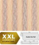 Streifen Tapete Vliestapete EDEM 675-91 XXL Vlies Tapete dekorative Streifen-Struktur orange-rot braun creme 10, 65 qm