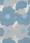 Blumen Tapete Atlas TEM-5108-3 Vliestapete geprägt im Retro-Stil und Metallic Effekt silber brillant-blau pastell-blau weiß-aluminium 7, 035 m2