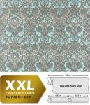 Vliestapete Barock-Tapete XXL EDEM 966-27 Muster Ornament klassisch grau türkis   10, 65 qm