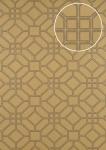 Grafik Tapete ATLAS HER-5134-5 Vliestapete geprägt mit geometrischen Formen schimmernd gold braun-grau 7, 035 m2