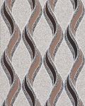 Grafische Tapete EDEM 1025-13 Buntsteinputz geschwungene Linien mit Ornamenten beige kakaobraun dunkelbraun silber