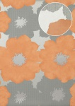Blumen Tapete Atlas TEM-5108-4 Vliestapete geprägt im Retro-Stil und Metallic Effekt silber lachs-orange pastell-orange weiß-aluminium 7, 035 m2