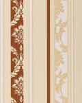 Barock Tapete Streifentapete EDEM 053-21 Damask Relief-Ornamente Flock-Optik braun weiß beige