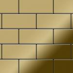 Mosaik Fliese massiv Metall Titan hochglänzend in gold 1, 6mm stark ALLOY Subway-Ti-GM 0, 58 m2