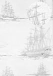 Grafik Tapete Atlas SIG-485-1 Vliestapete glatt im maritimen Design und metallischen Akzenten creme perl-weiß silber-grau anthrazit 5, 33 m2