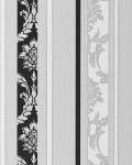 Barock Tapete EDEM 053-20 Streifentapete Damask Relief-Ornamente Flockoptik schwarz weiß hellgrau