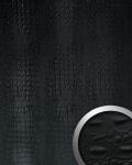 Wandpaneel Luxus 3D Leder WallFace 13408 CROCO Blickfang Dekor Wandverkleidung selbstklebende Tapete schwarz   2, 60 qm