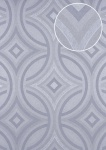 Grafik Tapete ATLAS HER-5135-5 Vliestapete geprägt im Kaleidoskop-Stil schimmernd silber perl-hell-grau grau-blau 7, 035 m2