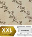Blumen Tapete Vliestapete EDEM 946-25 Luxus Tapete Blätter-Muster Barock-Blumendekor kakao-braun grau bronze 10, 65 qm