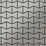 Mosaik Fliese massiv Metall Edelstahl marine gebürstet in grau 1, 6mm stark ALLOY Kismet-S-S-MB Designed by Karim Rashid 0, 86 m2