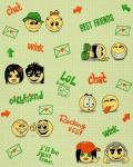 Kindertapete EDEM 037-25 Fun Manga Anime Chat Smileys universelle Kinder-Jugend-Zimmer Tapete beige-grün gelb grün