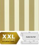 Streifen Vliestapete EDEM 947-21 Luxus XXL Tapete klassisches Streifen-Muster cremeweiß olivgrün gold 10, 65 qm