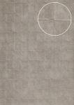 Stein-Kacheln Tapete Atlas INS-5080-3 Strukturtapete geprägt mit geometrischen Formen und Metallic Effekt silber platin-grau 7, 035 m2