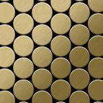 Mosaik Fliese massiv Metall Titan gebürstet in gold 1, 6mm stark ALLOY Medallion-Ti-GB 0, 73 m2