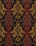 3D Barock-Tapete Damask EDEM 770-36 Luxus Tapete hochwertige 3D Brokat Struktur dunkelbraun braun-rot weinrot gold