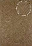 Streifen Tapete Atlas 24C-5055-2 Vliestapete strukturiert mit Chevron Muster und metallischen Akzenten braun beige silber 7, 035 m2