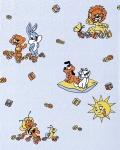 Kindertapete EDEM 007-22 Für Jungs. Kinder-Zimmer Tapete Vinyl mit Motiven Löwe Hase Biene Sonne bunte farben hell blau