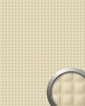 Wandpaneel Quadrat Leder Luxus WallFace 14277 QUADRO Blickfang Dekor selbstklebende Tapete Verkleidung creme | 2, 60 qm