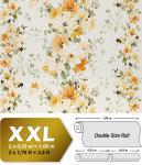 Blumen Tapete Vliestapete Landhaus Tapete EDEM 907-02 XXL Floral hochwertige Textiloptik Weiß gelb orange-braun 10, 65 qm